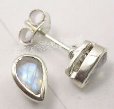 Unisex Studs Post Earrings 0.8 Cm 925 Solid Silver Sparkling Rainbow Moonstone