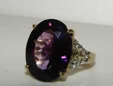 SUPERB, ART DECO, 9 CT GOLD RING WITH 15.0 CARAT AMETHYST AND WHITE SAPPHIRE