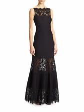 SZ XS Tadashi Shoji Black Lace-Trimmed Sleeveless Mermaid Gown NWT
