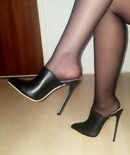 High Heels Stiletto Mules Pumps Schwarz Matt 13 cm absatz Gr. 37-38-39-40