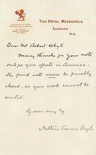 Arthur Conan Doyle   Lettre Originale als signé   auteur de Sherlock Holmes