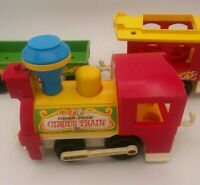 Antique 1973 Fisher-Price Circus Train Engine Two Train Cars Vintage Collector