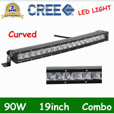 Curved 19''INCH 90W CREE LED WORK LIGHT BAR SPOT FLOOD DRIVING 3D LENS LAMP SLIM