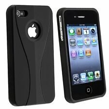 Rubberized Hard Snap-on Cup Shape Case for iPhone 4 / 4S - Black/Black