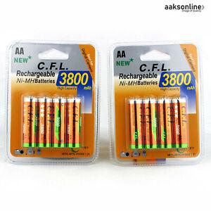 8x AA 3800 mAh NI-MH AKKU Wiederaufladbar Batterie Accu Rechargeable Mignon Top
