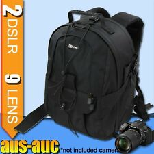 "Camera BACKPACK travel BAG for 2x DSLR 7x lens 15"" Laptop Area Tripod Strap"