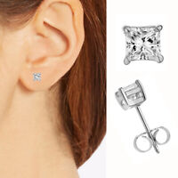 Sterling Silver Princess-Cut Stud Earrings white Square CZ 4mm