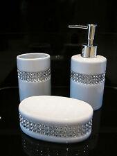 3 Pezzi Set Diamante BAGNO set accessori in ceramica bianco nuovo una consegna gratuita