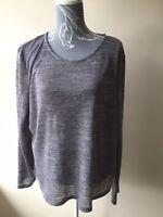 Womens T-shirt Top Size 20 Grey Purple Long Sleeved