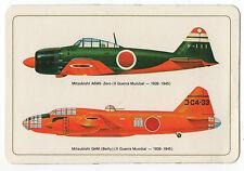 1985 Portugese Pocket Calendar Japanese WW2 Aircraft Mitsubishi A6M5 Zero & G4M