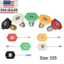 "Pressure Washer Spray Nozzles 5Pcs Tip Set Variety Degrees 1/4"" Quick Connect US"