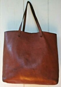 Madewell Whiskey Brown Leather Vintage Transport Large Shopper Tote RN 77388