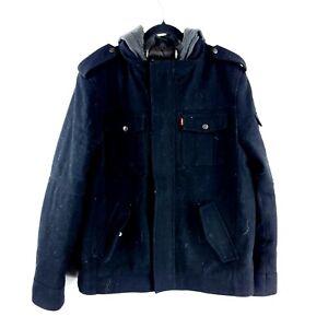 Men's Black Levi's Full Zip Hooded Wool Jacket Size XL