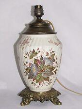 06D43 ANCIEN PIED DE LAMPE A PÉTROLE EN FAÏENCE LUNÉVILLE OU SARREGUEMINES XIXe