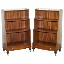 RARE PAIR OF DWARF WATERFALL OPEN BOOKCASES BRASS GALLERY RAILS CASTORS DRAWERS