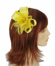 Yellow Satin Bow with centre Sinamay Flower Hair fascinator sprung clip
