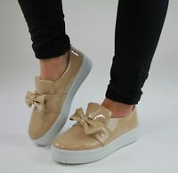 Ladies Womens Flat Slip On Bow Casual Pumps Skate Fashion Trainers Shoes Size