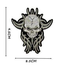 Tribal Skull Iron On Patch 9.5 x 8.5 cm Easy Iron Skulls Gothic Badge Motif P580