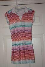 NIKE GOLF Dri-Fit Girls Lightweight  Fun Striped Sports Dress Sz Large L