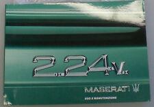Libretto uso e manutenzione Maserati 2.24v.