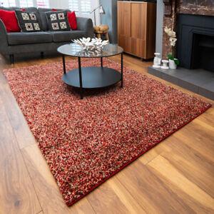Terracotta Shaggy Bedroom Rug Deep Living Room Rugs Small Large Flecked Area Rug