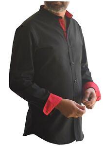 Mens Casual Shirt Grandad Collar black Cotton UK seller