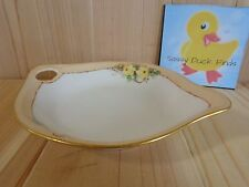 "PORCELAIN CANDY DISH 7"" Beige with Yellow Roses Teardrop Shape Germany"