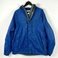 Columbia Omni-Tech Blue Waterproof Hooded Windbreaker Rain Jacket Mens Size M