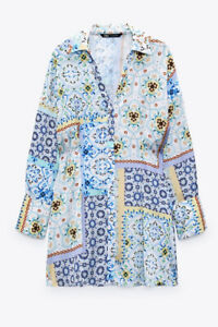 ZARA MULTICOLORED BLUE PATCHWORK PRINT SHIRT MINI DRESS BNWT SIZE S SOLD OUT