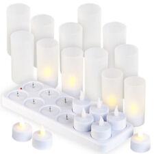 Lunartec 12 Akku-LED-Teelichter mit Acryl-Dekogläsern und Ladestation