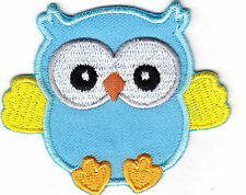 Owl Blue Birds Iron On Embroidered Applique Patch