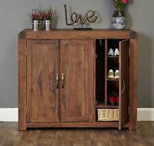 Shiro Premium Solid Walnut Dark Wood Extra Large Shoe Cabinet Storage Cupboard