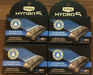 Lot Of 4~ Schick Hydro 5  Hydrate Razor Blade Refill Cartridges~ 4 Count Each