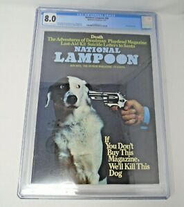 """National Lampoon #34 1973 [CGC 8.0] Classic """"We'll Kill This Dog"""" Photo Cover"""