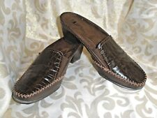 BROWN LEATHER / MOC CROC WHITE MOUNTAIN LOAFER MULES CLOGS SLIDES PUMPS SIZE 7.5