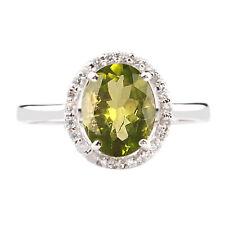 585er Weißgold 1,45 Karat Natürlicher Peridot EGL zertifizierter Diamant ring
