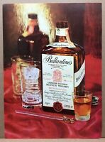 Vintage 1960 Ballantine's Scotch Whiskey Liqueur Square Bottle Print Ad 8x11