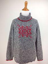 Christmas Sweater L Petite Womens LIZ CLAIBORNE Mock Neck Red Snowflake Cotton