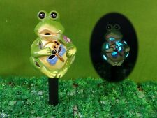 Cute Frog garden deco,Ceramic Solar Light,LED colour changing, H43cm