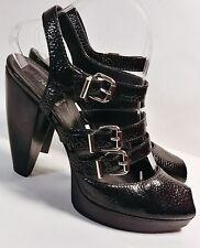 e34bbf7951e FENDI Black Pebbled Leather Buckle Peep Toe Women s Hi-Heel Sandals Sz. US  8.5