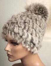 Mütze Pelz Strick Fuchs Bommel Bluefrost Winter Mode Trend Kanin Grau