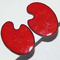 Vintage midcentury baked enamel red artists palette screwback earrings