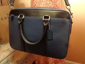 NWT COACH MEN's Business Bag Leather Perry Slim Brief ColorBlock INDIGO  56018