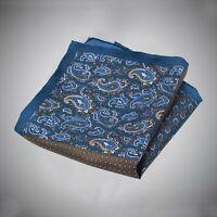 Justwhiteshirts Blue Brown Paisley Neat Pattern Four Panel Silk Pocket Square