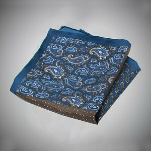 Justwhiteshirts Blue Brown Paisley Neat Pattern Four Panel Silk Pocket Square