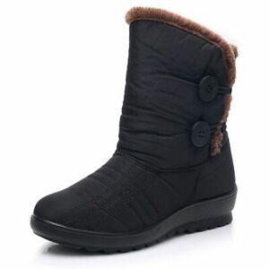 Women Snow Boots Warm Winter Waterproof Non Slip Ladies Plus Velvet Cotton Shoes