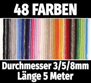 5M Baumwollkordel Ø 3/5mm €0,40/m 8mm €0,70/m Kordel Baumwolle Schnur·48 Farben