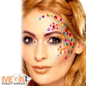 Rainbow Jewel Face Gems Fancy Dress Festival Party Adults Kids Costume Accessory