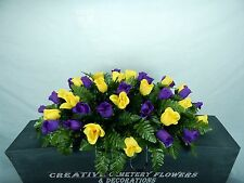 Deluxe Cemetery Flower Memorial Headstone Saddle/Pillow