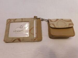 Liz Claiborne Accessories TAN Beige LOGO Credit Card Wallet & Change Purse NWOT